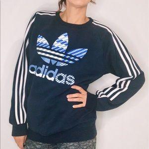 Adidas Crew Neck Blue Sweatshirt
